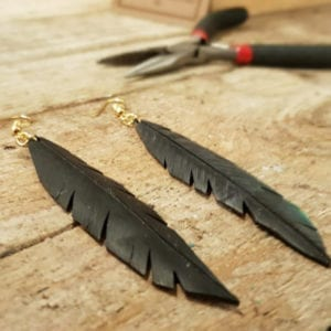 Upcycled Earrings Feathers